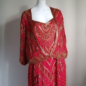 Vintage Red & Gold Beaded Dress - Plus Size 2X